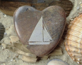 Heart sloop sailboat unique engraving - heart - sailboat - sloop - lucky charm - sailing boat - engraving - marble - unique