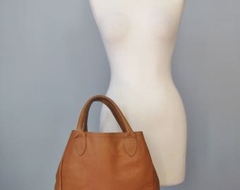 Pebbled Leather Tote / Vtg 70s / GH Bass Tan Pebbled Leather / Rawhide Tote