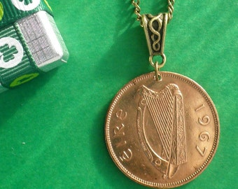 1967 50th Birthday Irish Penny Necklace antique bronze celtic bail and chain, dates available, Ireland coins circulated direct from Ireland