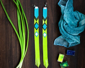 Long Leather Earrings, bright boho style trible geometric jewelry, lime and blue, chevron extravagant fashion jewelry