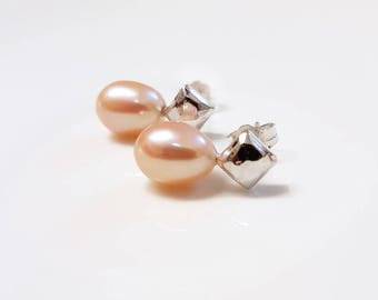 Peach Pink Pearl and Sterling Silver Stud Earrings
