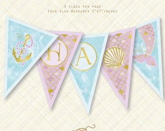 Purple Mermaid Banner Happy Birthday Printable Bunting Instant Download gold party flag pdf watercolor scales anchor shell tail foil digital