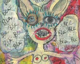 Original Outsider Art Painting - Singing Rabbit -  #205