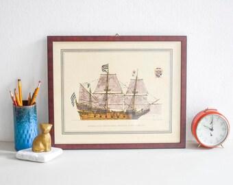 Vintage botanical, vintage botanic drawing, botanic print, flower drawing framed