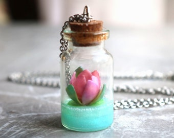 Water lily bottle necklace, birth flower of July, pink flower, lotus necklace, polymer clay jewelry, glass vial, girlfriend gift, for her
