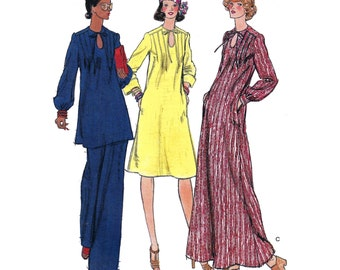 """1975 Keyhole Neckline Caftan, Front/Back  Pin-Tuck Detail, Knee Length or Tunic & Pants, Sleeve Options, Butterick 9129, Bust 32 1/2"""", Uncut"""