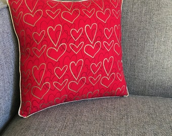 "Heart Pillow in Red and Glitter Gold - ""Be Still My Heart"""