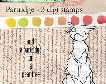 SALE!!! Partridge in a Pear Tree - 3 digi stamp set