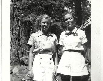 Old Photo 2 Teen Girls wearing White Shorts 1930s Photograph Snapshot vintage