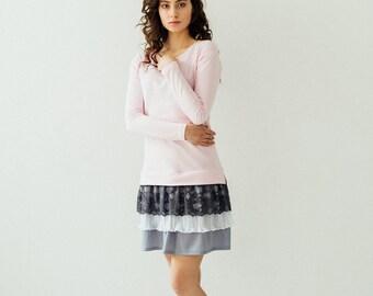 pink dress women, jersgey dress, sweater dress, comfy dress, grey dress, lace detail, long sleeve dress, everyday dress, dress, short dress