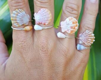 Sunrise Shell Wrap Ring, sunrise shell jewelry, moonrise shell, Sterling Silver sunrise ring