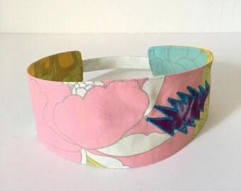 Floral Grateful Dead Elastic Backed Headband - Bandana - Headwrap - Dreadwrap - Stealie - Patchwork Headband - Hippie Headband
