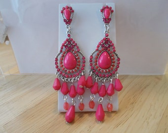 Post/Stud Pink Chandelier Earrings with Pink Bead Dangles and Pink Rhinestones