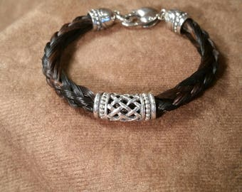 Braided Horsehair Bracelet with Sterling Silver Woven Tube Bead, Bali Style Accent Beads and End Caps, Heart Clasp