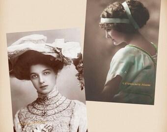 Beautiful Lady - 2 New 4x6 Vintage Postcard Image Photo Prints - LE052 LE152