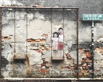 Street art photograph Graffiti photo Rustic wall print Boy and girl Step by step Malaysia travel print 8x12 back to school dorm decor