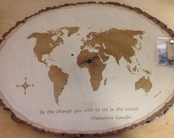 Larger size- Customizable Engraved map of the World -filled in land