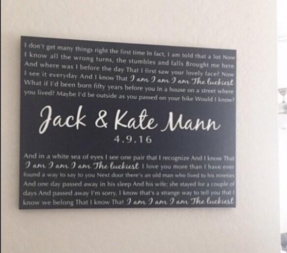 Modern Wedding Ceremony Songs: Song Lyrics Or Wedding Vows Canvas Home Decor Wedding Gift