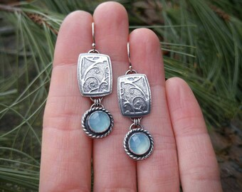 Blue Chalcedony and Sterling Silver Earrings. Botanical Embossed Image. Rose Cut Gem. Textured, Oxidized Silver Metalworked Dangle Earrings.