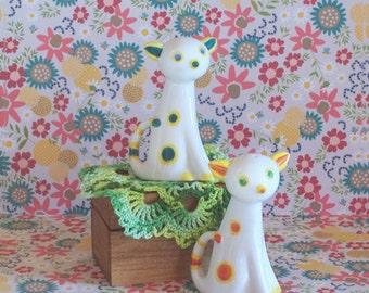 Funky Vintage Art Deco Polka Dot Cat Salt & Pepper Shakers Japan