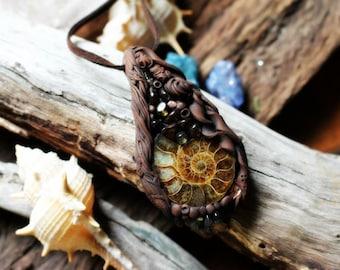 Ammonite & Citrine Crystal Encrusted Ocean Medicine Necklace