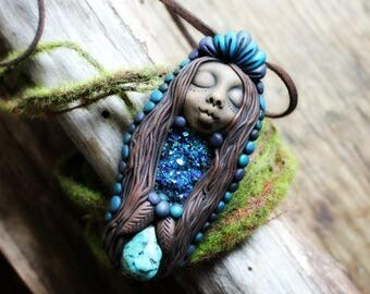 Blue Rainbow Goddess Necklace with Howlite and Handcrafted Clay.. Clay with Healing Gemstone and Crystal Jewelry.