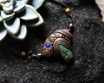 Moonstone, Sodalite & Chrysocolla Necklace. Unisex Clay with Healing Gemstone and Crystal Jewelry.