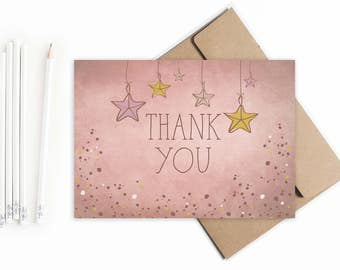 Twinkle, Twinkle Little Star Thank You Cards // Shabby Chic Star Thank You Cards // Twinkle, Twinkle Birthday Thank You Cards