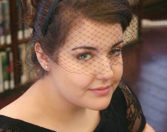 Black fascinator, black birdcage veil, fascinator headband, black headpiece, black veil, vintage fascinator veil, birdcage veil headpiece
