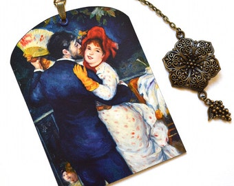 SPECIAL OFFER ! Mini Bookmark with Bronze Pendant - Renoir - Dancers - Painting - Handmade
