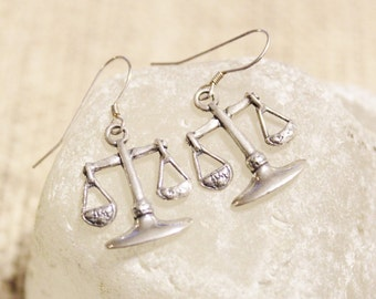 Sterling Silver Libra Dangle Earrings, Libra Jewelry, Zodiac Sign Earrings