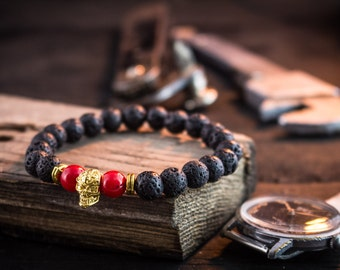 8mm - Black lava stone and facated red coral beaded gold skull stretchy bracelet made to order yoga bracelet, mens bracelet, womens bracelet