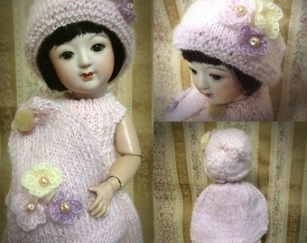 Hand Knitted Dress Set for Momoette Bleuette size Dolls for Winter