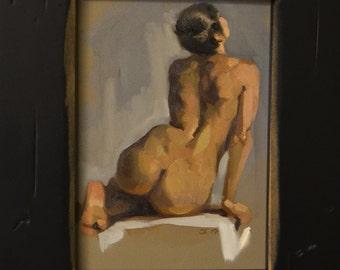 original oil painting 5x7 inch figure sketch