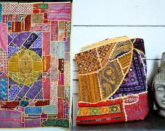 SALE Vintage XLarge Indian Textile - Wall Hanging - Mirror Art Work - Home Decor - Indian Rug - India Indian Tapestry Patchwork XL Huge Big