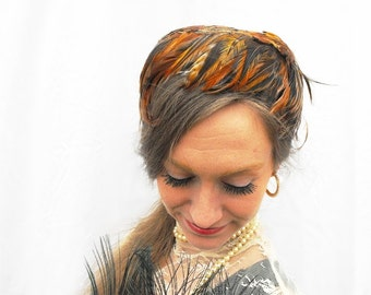 1940s Feather Fascinator Pillbox Hat Vintage Feathered Autumn Fashion Flapper Gold Brown Burnt Orange Quail Pheasant Feathers Fall Millinery