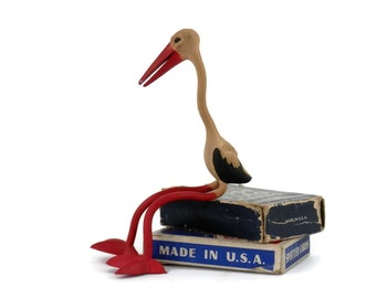 Rubber Stork Bird Bendy Toy Schleich Biegefguren made in West Germany Whimsical Poseable Toy