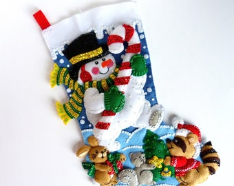 Christmas Stocking Bucilla Finished Personalized Stocking Family Stocking Snowman In the Spirit Stocking Felt Stocking Gift for Him Her