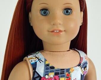 18 inch doll clothes-Sleeveless Harajuku Print Dress