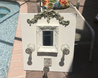 Jewelry display mirror,necklace holder,wall mounted jewelry storage, French Farmhouse display, Coat or Hat rack, Foyer Mirror, Crystal hooks