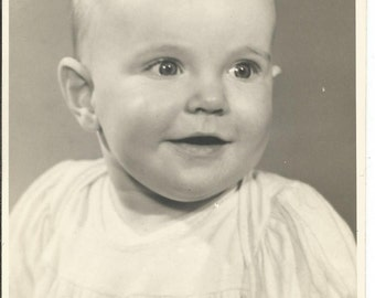 Vintage 1940's Black and White Photograph of a Cute Baby