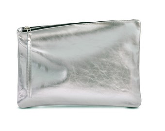 Silver leather wristlet, evening clutch, fold over clutch