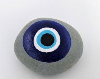 Evil Eye hand painted protection stone rock art paperweight garden desk art