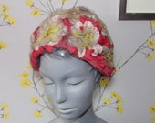 60s Vintage Floral Netted Hat Coral Cream Yellow Flowers Ladies Romantic Hat