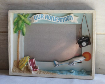 Honeymoon Photo Frame - Russ - Handpainted - Our Honeymoon - Beach Chairs - Airplane - Dangling Camera- Palm Tree- Home Decor- Picture Frame