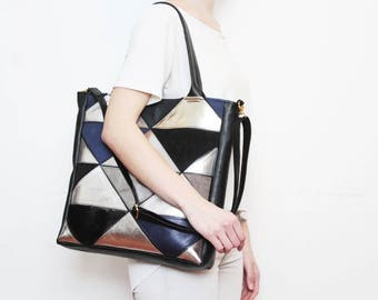 Natural leather handbag-adjustable strap tote-metallic leather bag-geometric shoulder purse-cross body tote-black silver grey /PRISM TOTE 4
