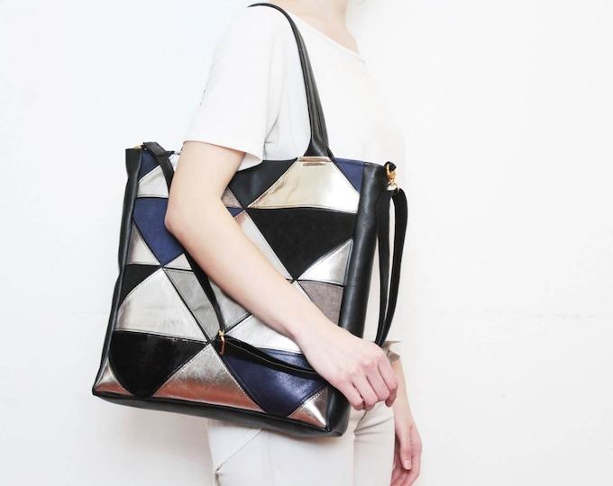 Natural leather handbag-adjustable strap tote-metallic leather bag-geometric shoulder purse-cross body tote-black silver grey /PRISM TOTE 4