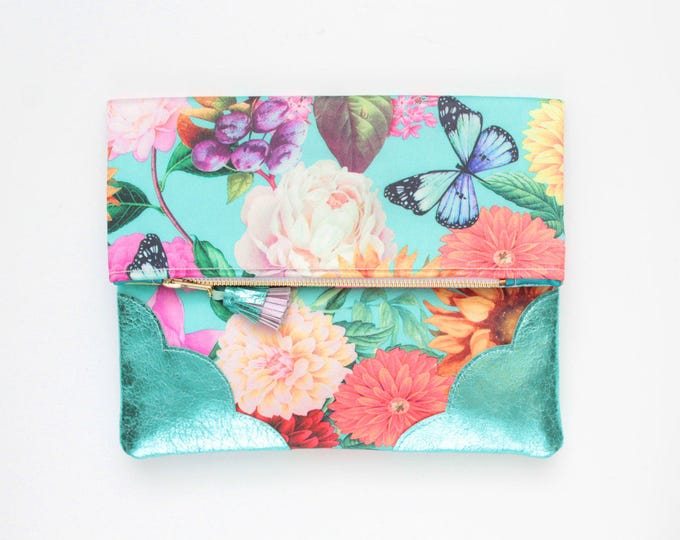 BLOOM 2 / Flower clutch purse-leather bag-fold over purse-scalloped leather-handbag-floral prin-tassel pull bag-metallic teal-Ready to Ship