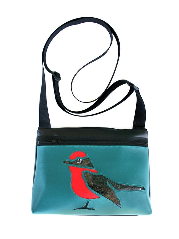 bird, black glitter vinyl, red and black, aqua vinyl, boxy cross body, vegan leather, zipper top