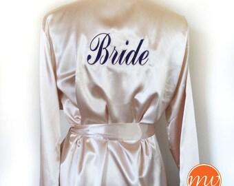 SALE Satin Robe / Kimono Robe / Short Silk Robe / Personalized Robe / Womens Silk Robe / Embroidered Monogrammed Robe / Bridesmaid Gift